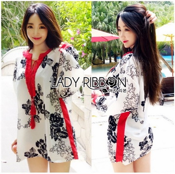 Lady Ribbon Online ขายส่งเสื้อผ้าออนไลน์ เลดี้ริบบอน LR09280716 &#x1F380 Lady Ribbon's Made &#x1F380 Lady Rosie Sunday Casual Embroidered Cotton Blouse with Tassels