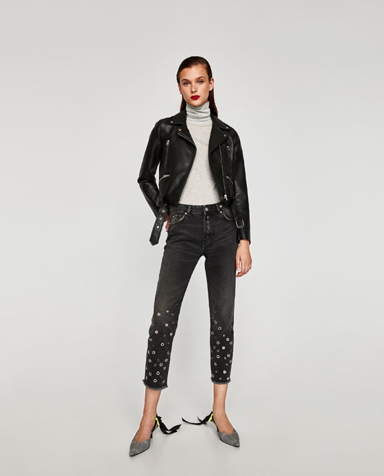 ZARA CROPPED DENIM JEANS WITH EYELETS