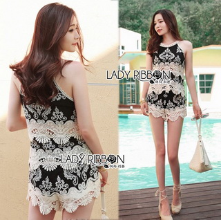 Lady Ribbon Online เสื้อผ้าออนไลน์ขายส่ง lady ribbon เสื้อผ้า LR09150816 &#x1F380 Lady Ribbon's Made &#x1F380 Lady Helena Black and White Lace Cropped Top and Shorts เสื้อแขนกุด