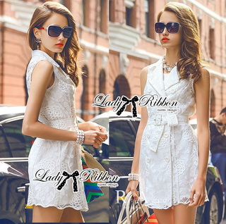 Lady Ribbon Online ขายส่งเสื้อผ้าออนไลน์ Lady Ribbon พร้อมส่ง LR09040816 &#x1F380 Lady Ribbon's Made &#x1F380 Lady Natasha Sophisticated Sleeveless Lace Trench Shirt Dress