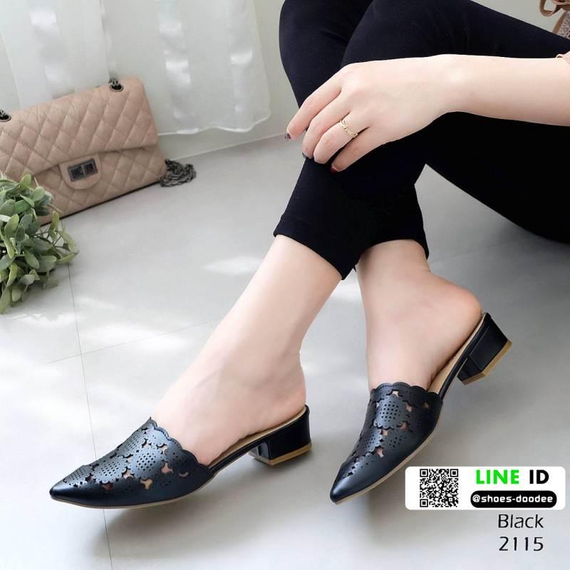 รองเท้าคัชชู เปิดส้น ฉลุลายเลเซอร์ กราฟฟิก 2115-ดำ [สีดำ]