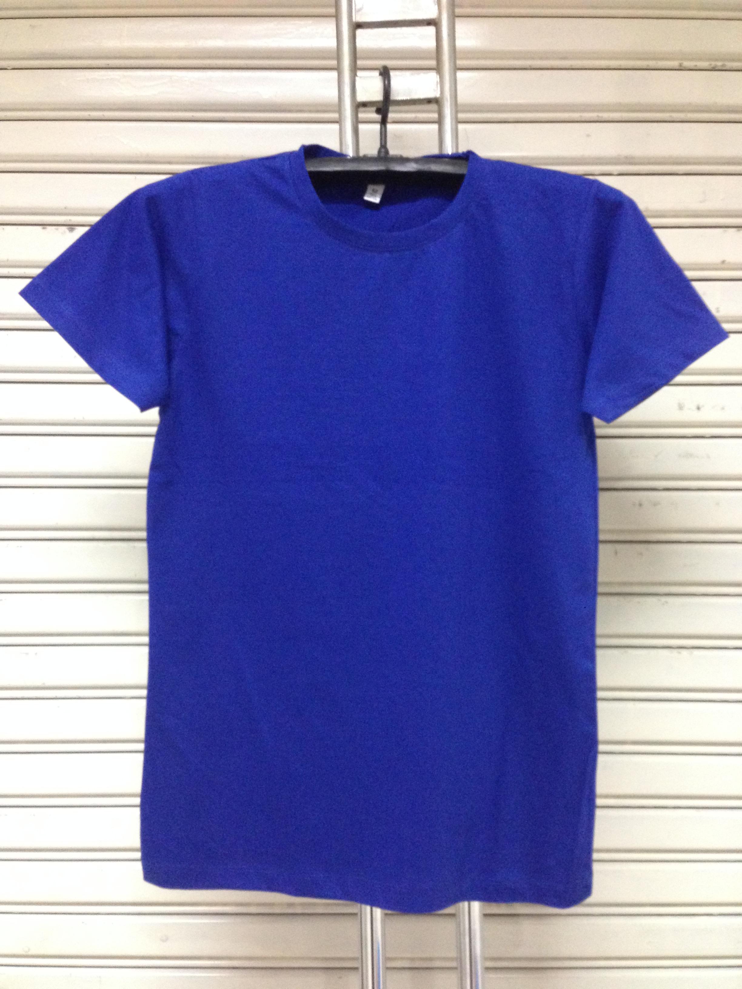 COTTON100% เบอร์32 เสื้อยืดแขนสั้น คอกลม สีน้ำเงิน