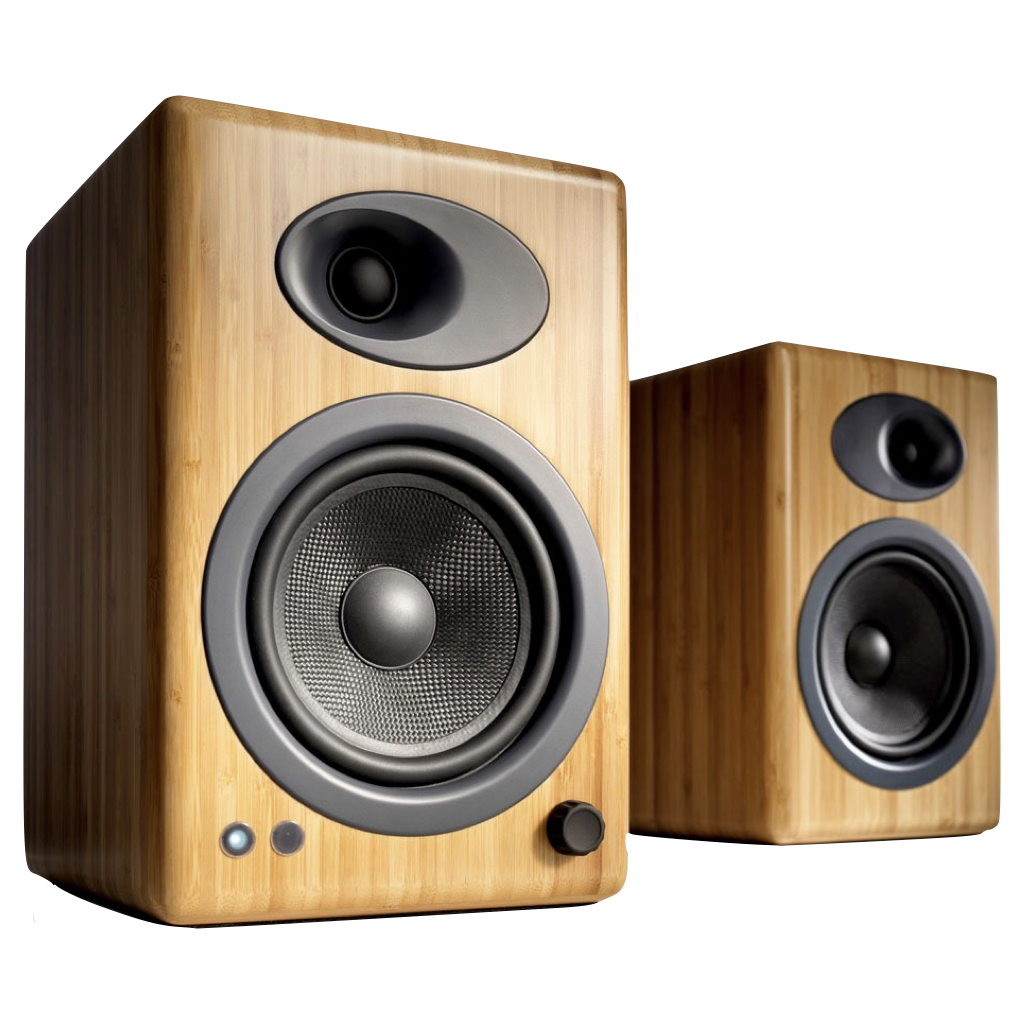 A5+ POWERED SPEAKERS Solid Carbonized Bamboo