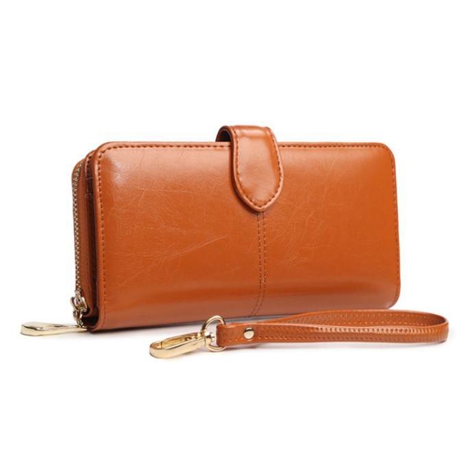 กระเป๋าสตางค์หนังแท้ สตรี ทรงยาว หนังนุ่ม สีน้ำตาล มีซิป