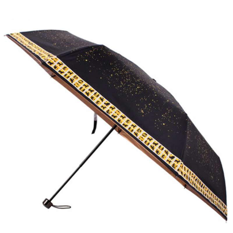 100% UV Cut Horoscope Folding Umbrella ร่มพับกัน uv 100%เคลือบดำ12ราศี - ดำ