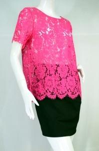HACHI CHILLE เสื้องานผ้าลูกไม้ทั้งตัวสีชมพูบานเย็น