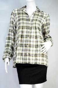 B+BASIC เสื้อเชิ๊ตลายสก๊อต สีออกโทนสีเหลือง-เทา