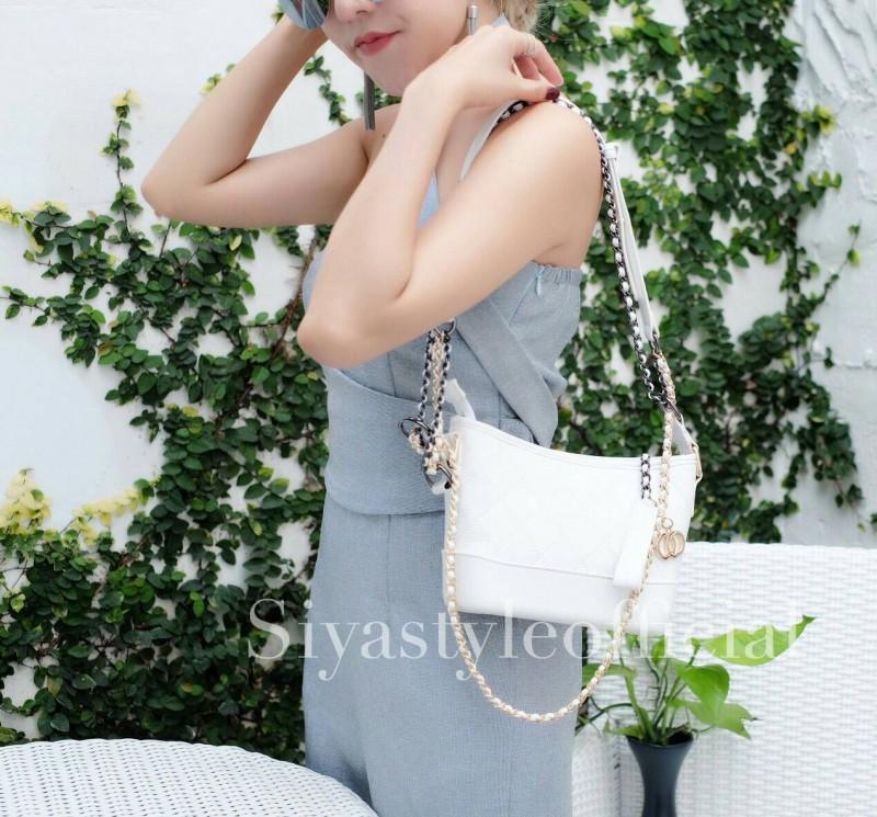 กระเป๋าสะพายแฟชั่น กระเป๋าสะพายข้างผู้หญิง Mini Classic [สีขาว/น้ำเงิน]