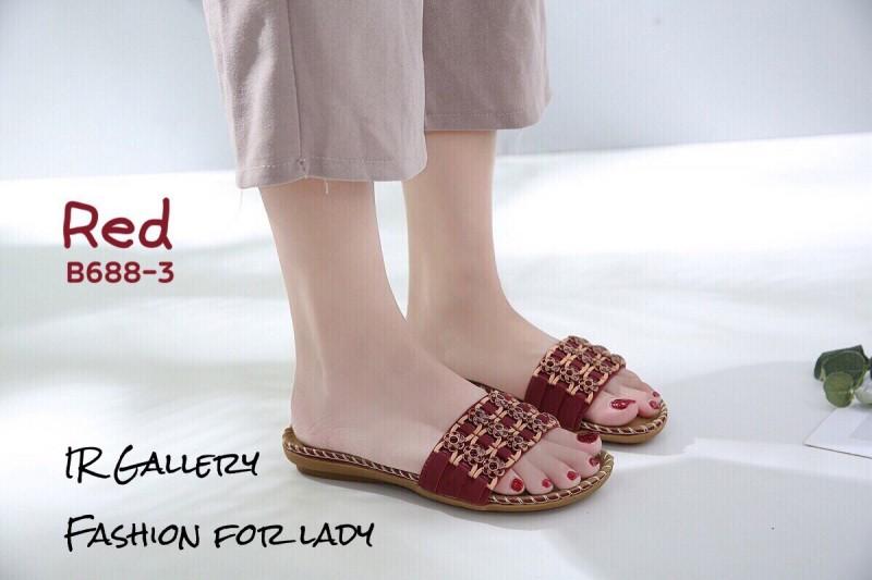 รองเท้าลำลองแบบสวมสีแดง วัสดุหนังนิ่ม B688-3-แดง