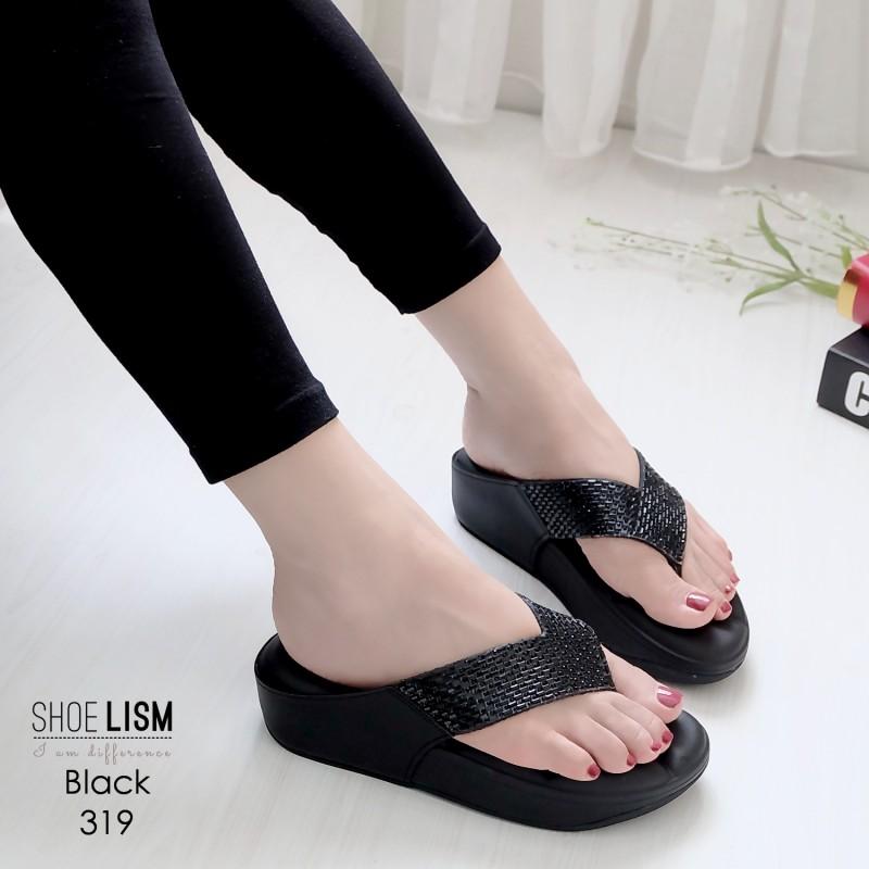 รองเท้าพื้นสุขภาพสีดำ ชนชอป LB-319-ดำ