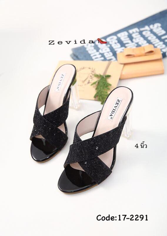 พร้อมส่ง รองเท้าส้นสูง สไตล์สวมงานเกาหลี 17-2291D2-BLK [สีดำ]