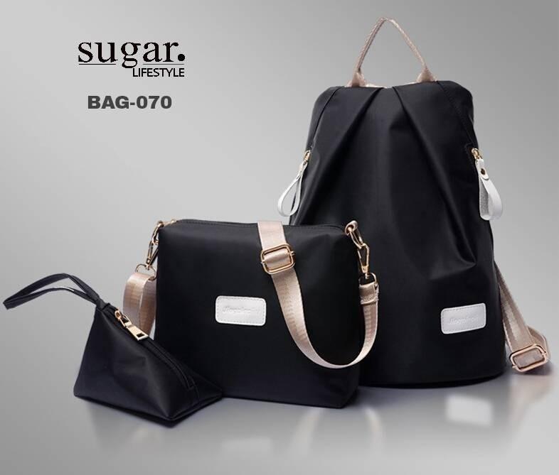 กระเป๋าเป้ผ้่าไนล่อนแบบเซ็ท ซื้อใบใหญ่ แถมกระเป๋าใบเล็ก 2 ใบ BAG-070 -ดำ (สีดำ)
