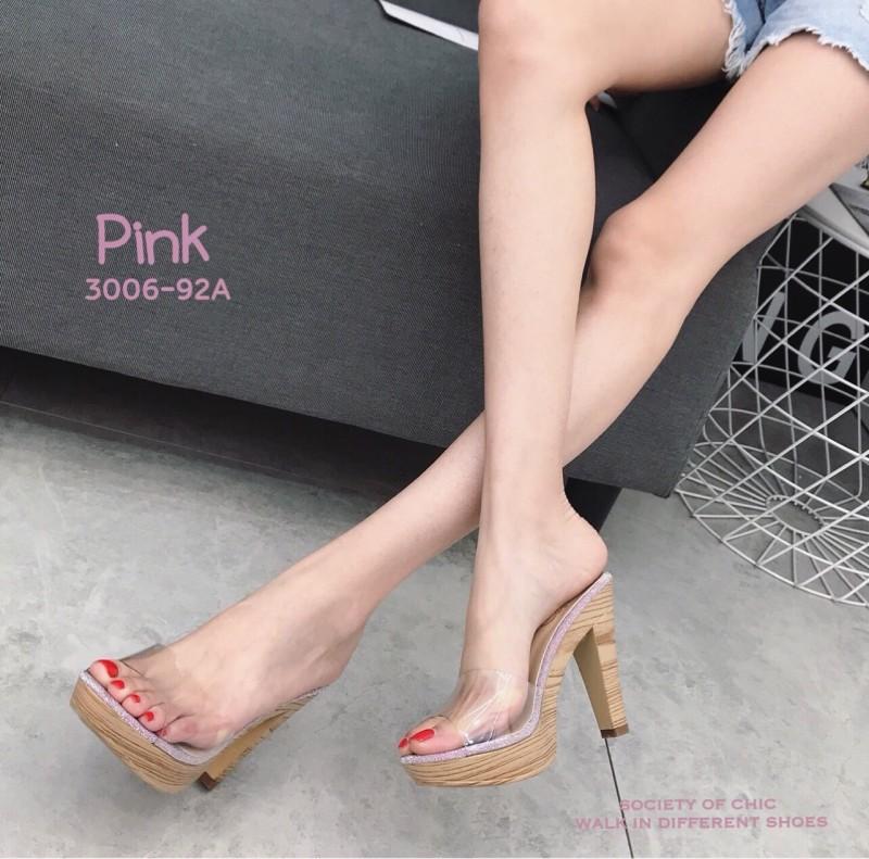 รองเท้าส้นสูงเปิดส้นสีชมพู ส้นไม้ หน้าใส LB-3006-92A-PNK