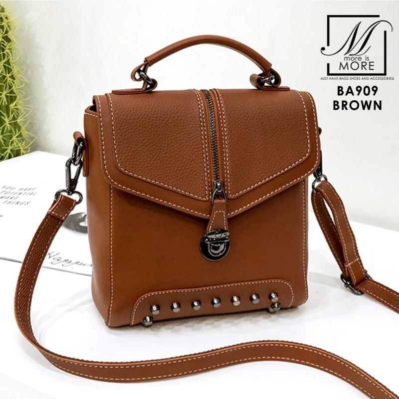 กระเป๋าเป้แฟชั่นนำเข้าดีไซน์สุดเท่ห์ BA909-BRO (สีน้ำตาล)
