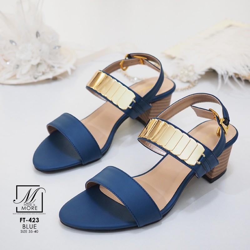 พร้อมส่ง รองเท้าส้นตันรัดส้นสีน้ำเงิน สายคาดสองระดับ แต่งอะไหล่สีทอง แฟชั่นเกาหลี [สีครีม ]