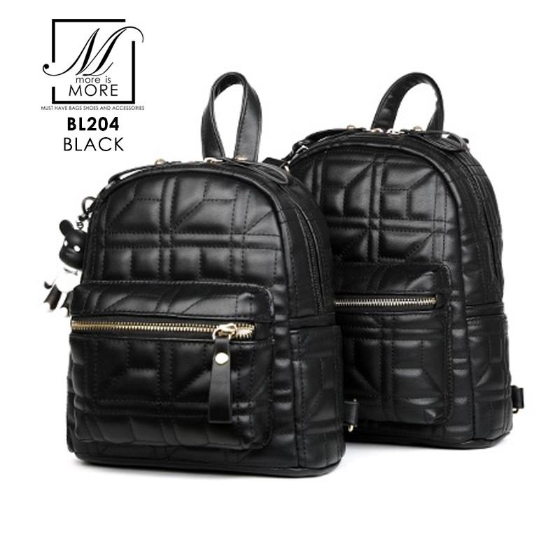 กระเป๋าสะพายเป้กระเป๋าถือ เป้แฟชั่นนำเข้าเย็บหนังเป็นลายสุดเก๋ส์ BL204-BLK (สีดำ)