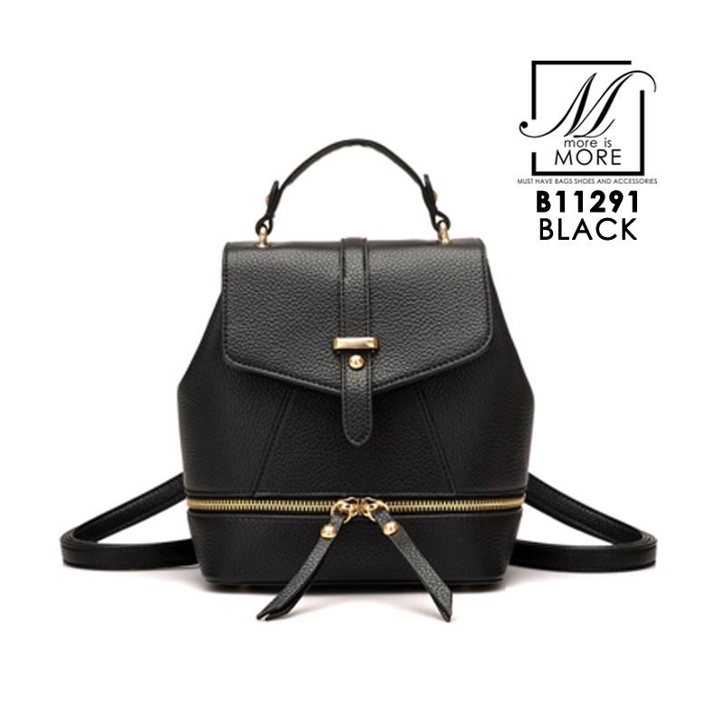 กระเป๋าสะพายเป้กระเป๋าถือ เป้แฟชั่นแบบยอดฮิต B11291-BLK (สีดำ)