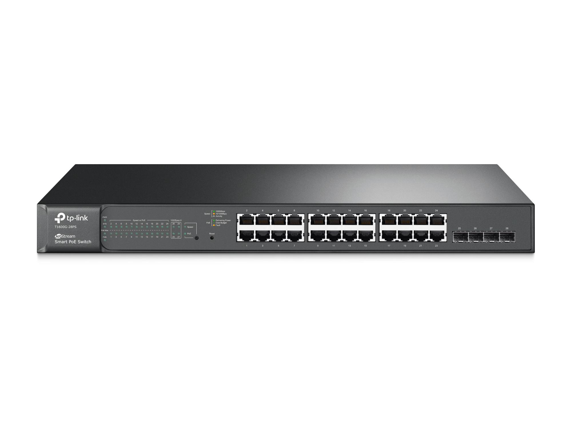 TP-LINK SWITCHING JetStream 24-PORT Gigabit Smart PoE+ Switch With 4 SFP Slots T1600G-28PS(TL-SG2424P)