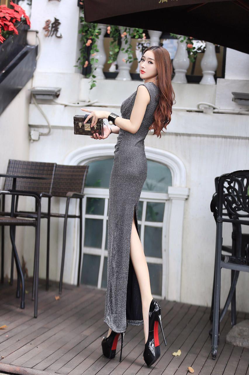 ชุดเดรสยาวไฮโซแฟชั่นเกาหลีสีเงิน