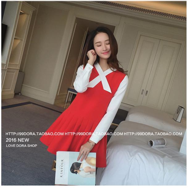 รับตัวแทนจำหน่ายชุดเดรสทำงานแฟชั่นเกาหลีสีดแดงน่ารักๆ