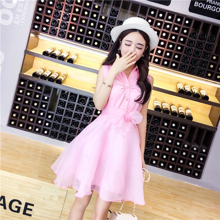 ชุดเดรสแฟชั่นเกาหลีสีชมพูแขนกุดกระโปรงบานเจ้าหญิงน่ารัก
