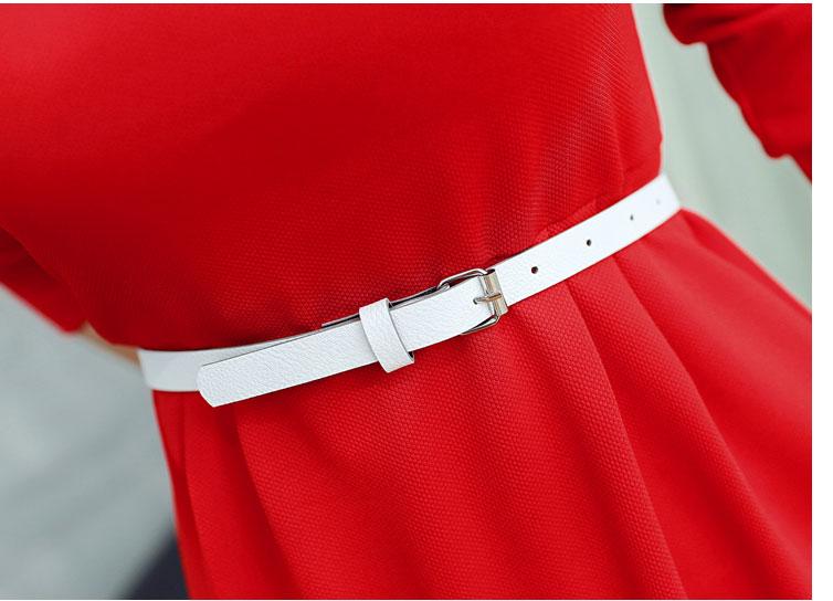 ชุดเดรสแฟชั่นเกาหลีสีแดงมีเข็มขัดสุดเก๋