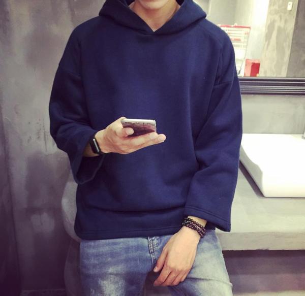 เสื้อกันหนาวเนื้อผ้าเทอร์รี่ มี Hood ไม่มีกระเป๋า Style เกาหลี ใส่แบบลำลองได้
