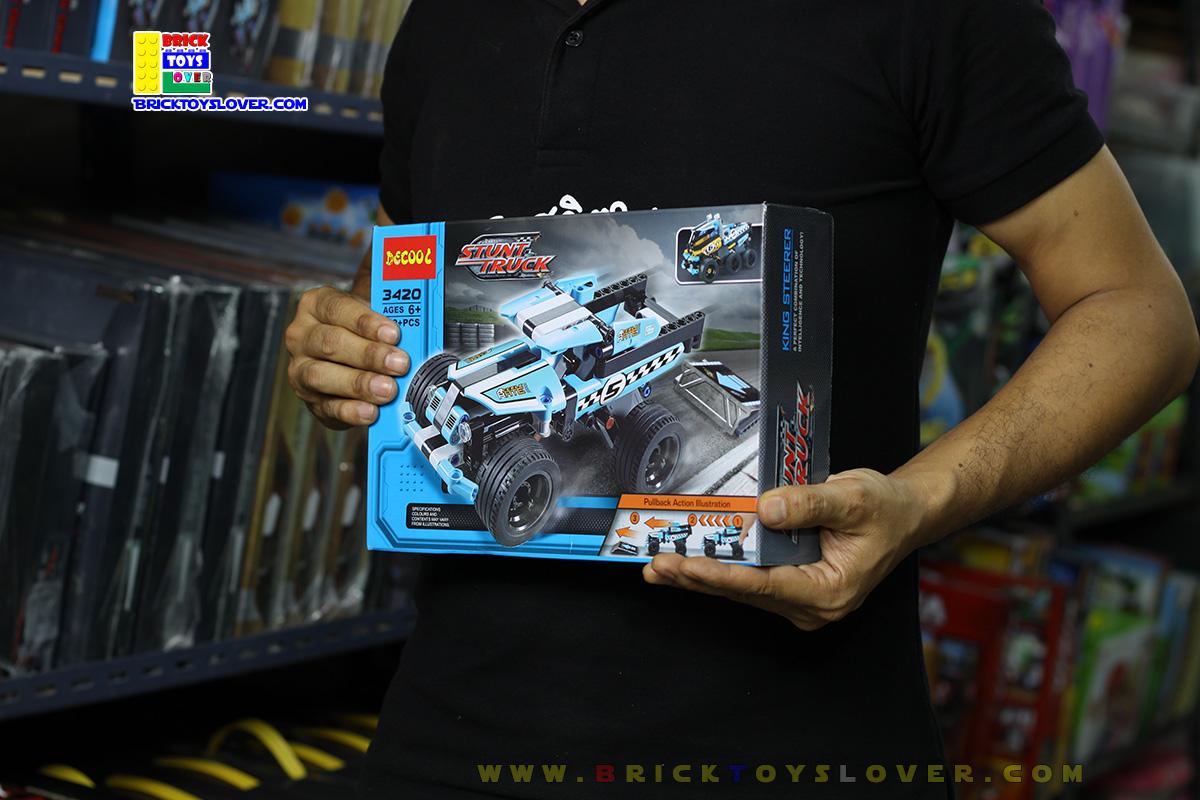 3420 ตัวต่อ King Steerer รถยนต์ผาดโผนสีฟ้า Stunt Truck