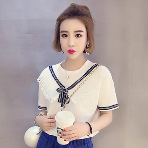 เสื้อแฟชั่น ผ้า Cotton + แต่ง Chiffon Pearl แบบสวม