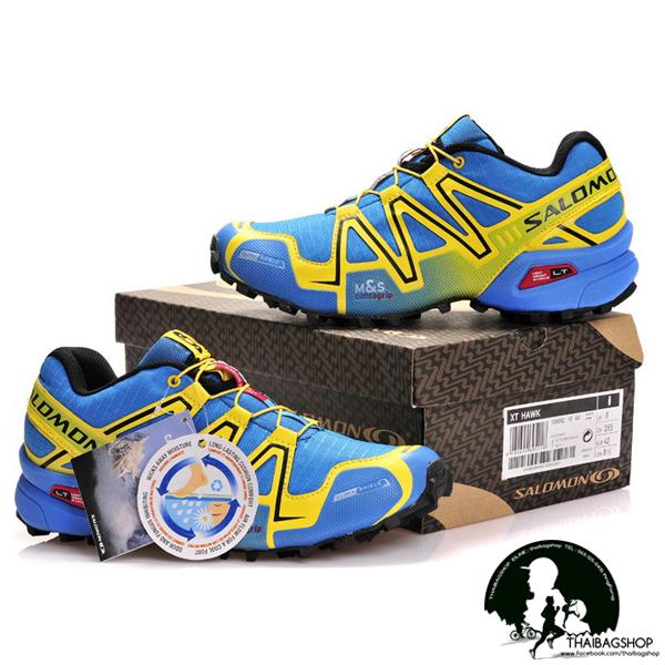 รองเท้า salomon สี ฟ้าเหลือง