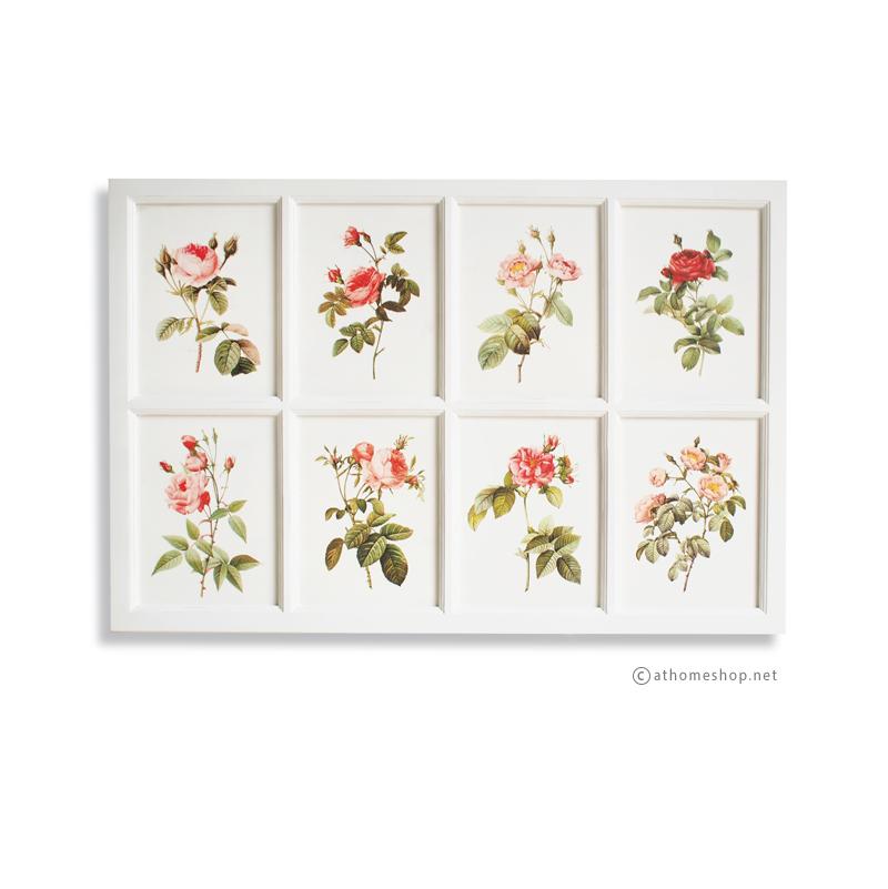 ภาพพิมพ์ดอกกุหลาบ 8 ช่อง กรอบไม้สีขาว