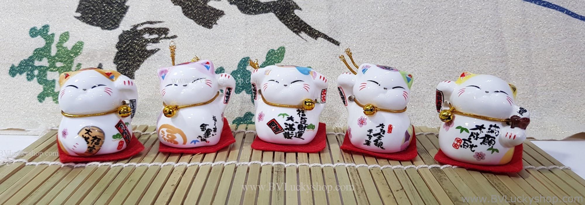 แมวกวัก แมวนำโชค สูง1.5นิ้ว ชุด 5 ตัว [catset-S6]