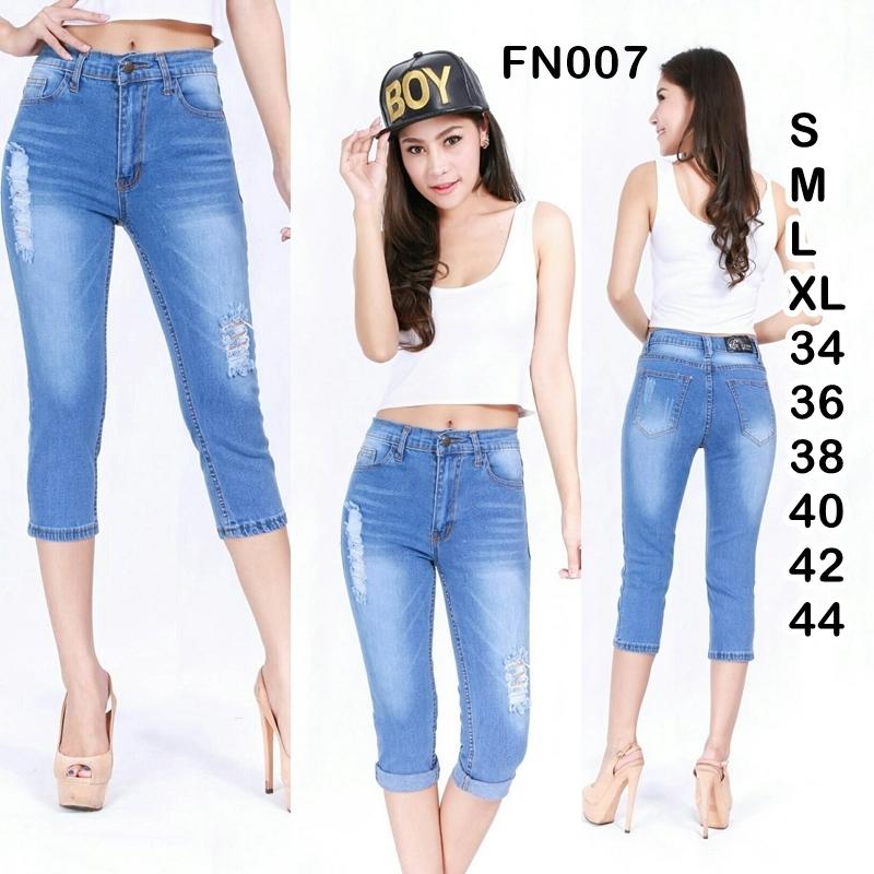 กางเกงยีนส์ขาเดฟเอวสูง 5 ส่วน สีอ่อนฟอกสกิดขาดเก๋ๆ ผ้ายืด ทรงสวย มี SIZE S,M,L,XL,34,36 38,40,42,44