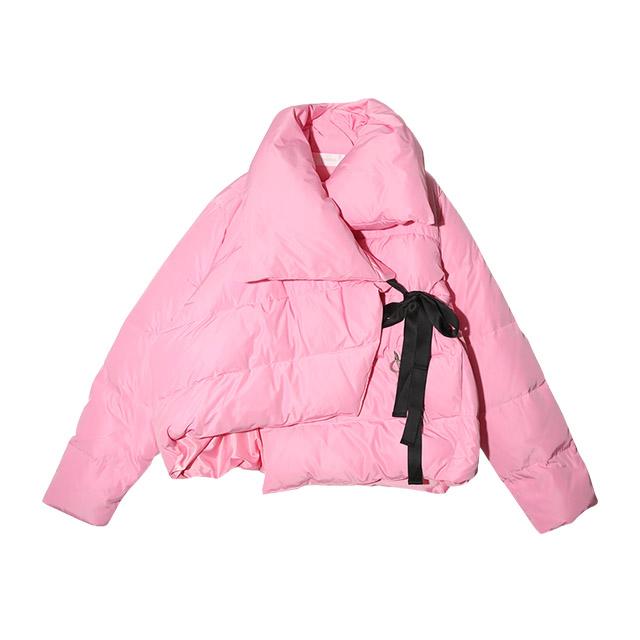 เสื้อผ้าเกาหลี Stylenanda (สไตล์นันดา) 3ce (( Ribbon Crush Unbalanced Pit Duck Padding 147,800 won)) เสื้อกันหนาวสีจี๊ดๆๆ ดีไซร์เก๋ หนานุ่ม
