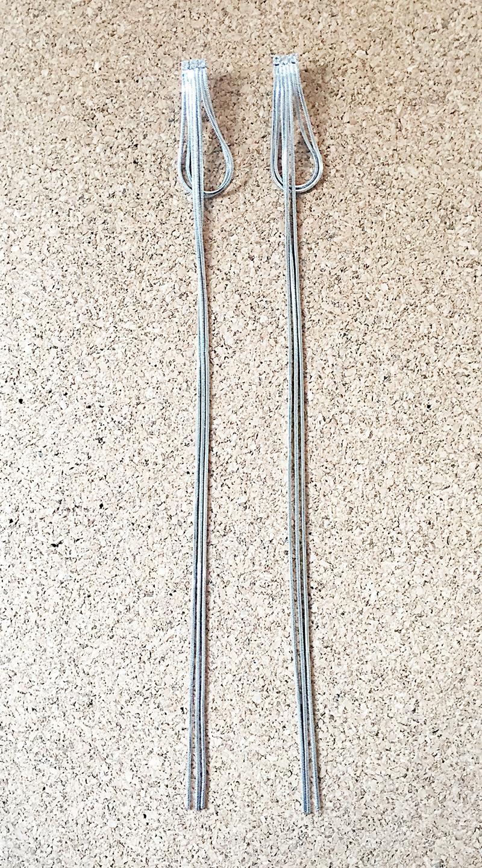ต่างหูเส้นยาว ชุปทองคำขาว สีเงินประดับเพชร ยาว 22 cm.