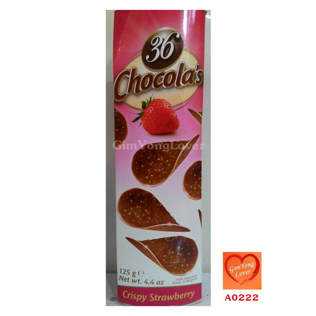 36 Chocola's ช็อคโกแลตแผ่นผสมเกร็ดอัลมอนต์ รสสตรอเบอรี่ (36 Chocola's Crispy Strawberry)