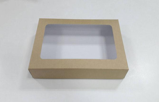 กล่องทาร์ตไข่ กล่องบราวนี่ กล่องชิฟฟ่อน กว้าง 26.0 x ยาว 16.5 x สูง 5.0 ซม.กล่องช๊อกโกแลต กล่องพาย กล่องขนมเปี๊ยะ ลายคราฟท์หน้าขาวหลังน้ำตาล