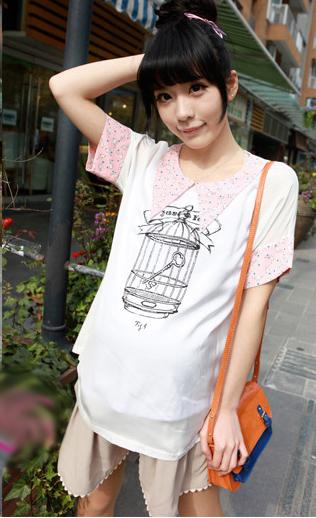 เสื้อคลุมท้องสไตล์เกาหลีสีขาว คอปกสีชมพูสกรีนลายกรงนก ไซต์ L