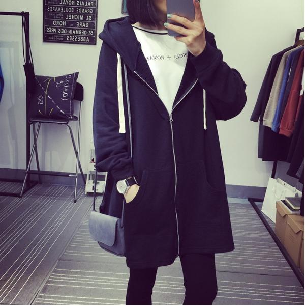 เสื้อคลุมแฟชั่นเกาหลี มีฮู้ด ซิปหน้า สีดำ