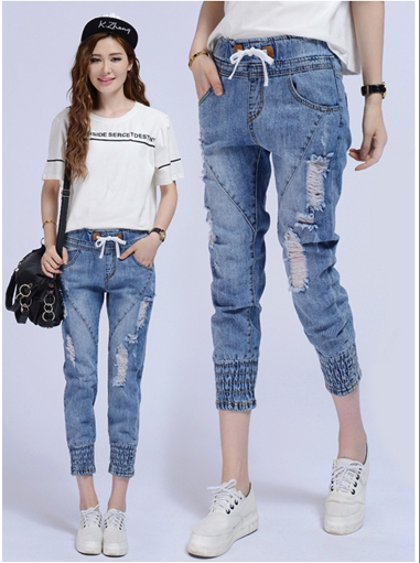กางเกงยีนส์แฟชั่นเอวยางยึด แต่งขาด จั๊มปลายขา S M L