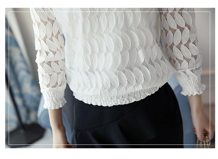 เสื้อลูกไม้แฟชั่น เสื้อลายลูกไม้สวยๆ สีขาว แขนยาว ลายลายทันสมัย