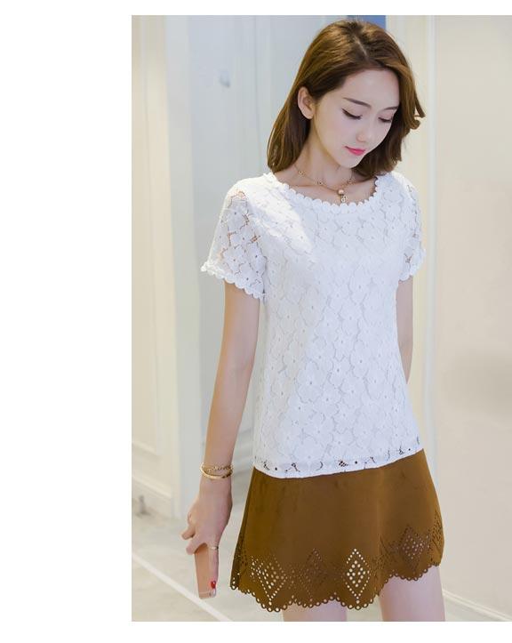 เสื้อลูกไม้สวยๆ แฟชั่นเกาหลี สีขาว แขนสั้น เสื้อลายลูกไม้ใส่สบายๆ