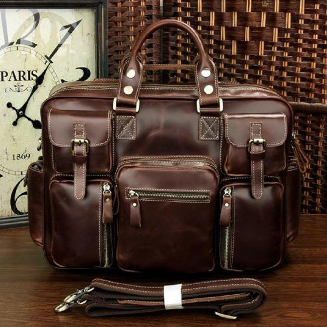 กระเป๋าสะพายข้าง กระเป๋าเดินทาง ใส่เอกสาร A4 ใส่โน๊ตบุ๊คขนาด 15 นิ้วได้ ผลิตจากหนังวัวแท้ โทนสีน้ำตาลแดง