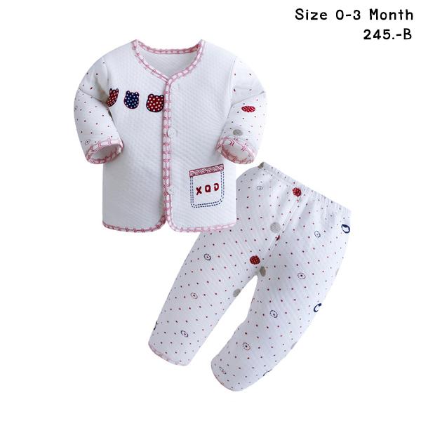 ชุดนอนเด็กอ่อน สีขาว กางเกงลายจุด ขอบแดง