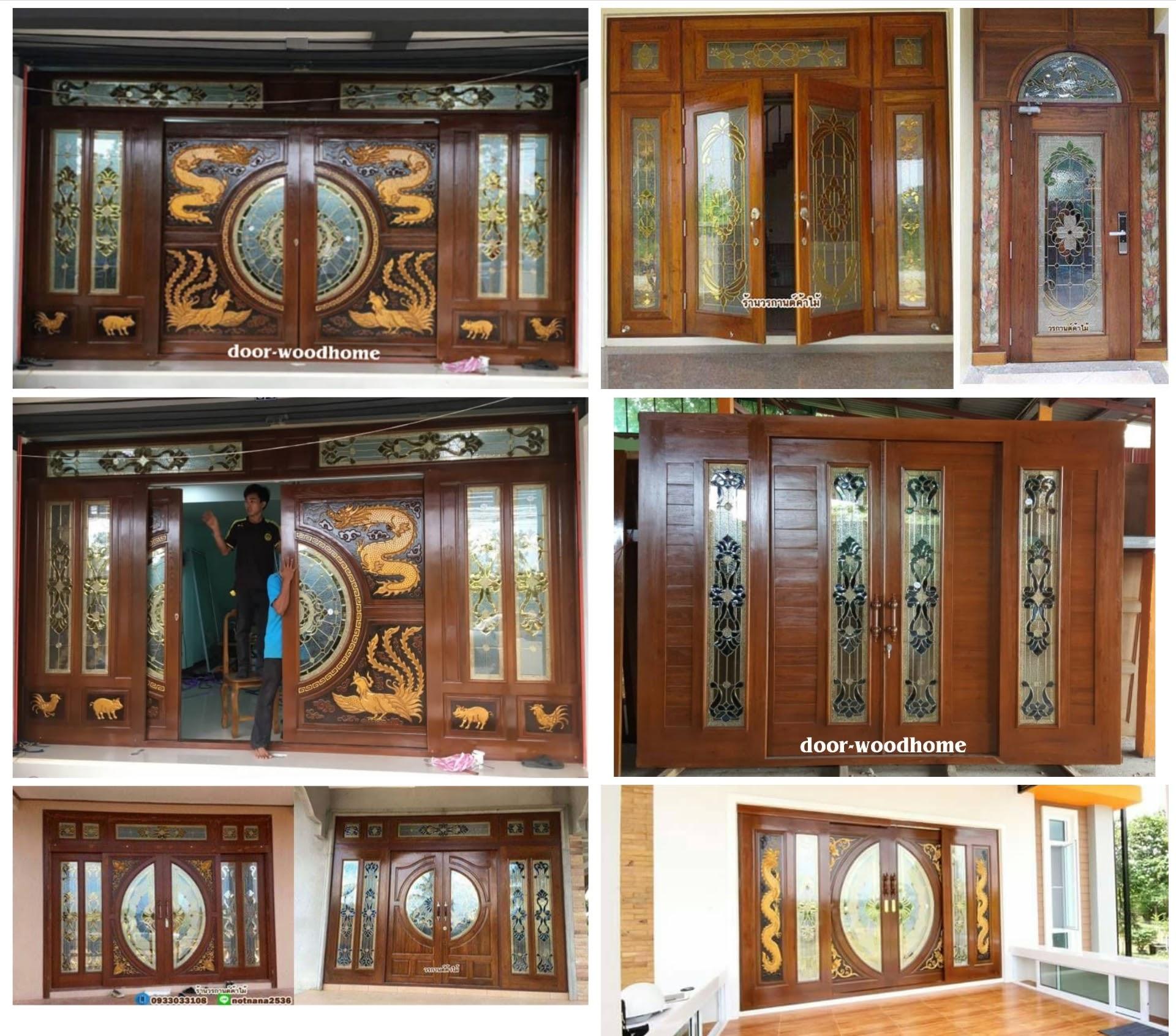 ประตูบานเลื่อนไม้สัก,ประตูไม้สักกระจกนิรภัย,ประตูบ้าน,ประตูไม้สัก