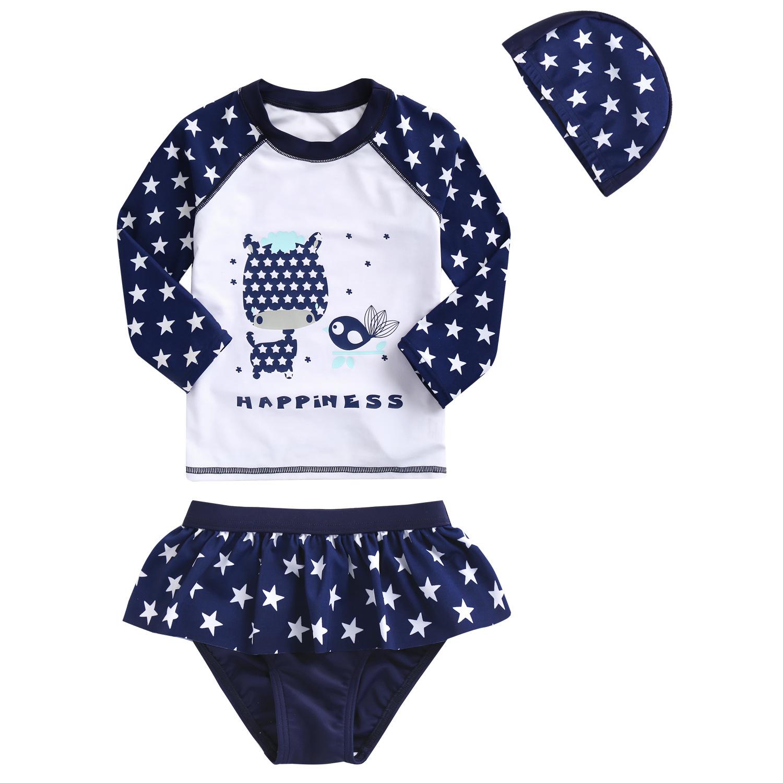ชุดว่ายน้ำแขนยาวลายดาวของเด็กผู้หญิง แพ็ค 5 ชุด [size 2y-3y-4y-5y-6y]