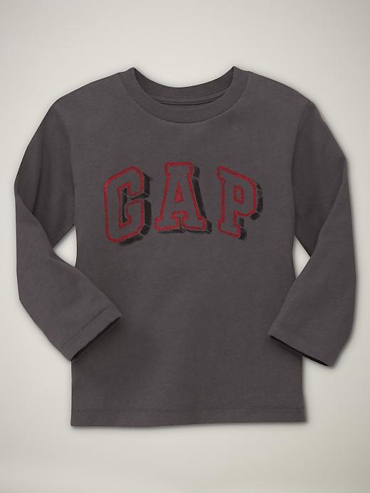 GP116 baby Gap เสื้อผ้าเด็ก เสื้อยืดแขนยาว เนื้อนุ่ม สีน้ำตาลเข้ม สกรีนลาย GAP Size 3Y