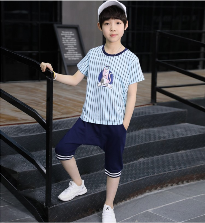 เสื้อ+กางเกง สีฟ้า แพ็ค 5 ชุด ไซส์ 120-130-140-150-160 (เลือกไซส์ได้)