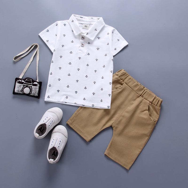 ชุดเซตเสื้อคอปกลายสมอสีขาว+กางเกงสีน้ำตาล แพ็ค 5 ชุด [size 6m-1y-18m-2y-3y]