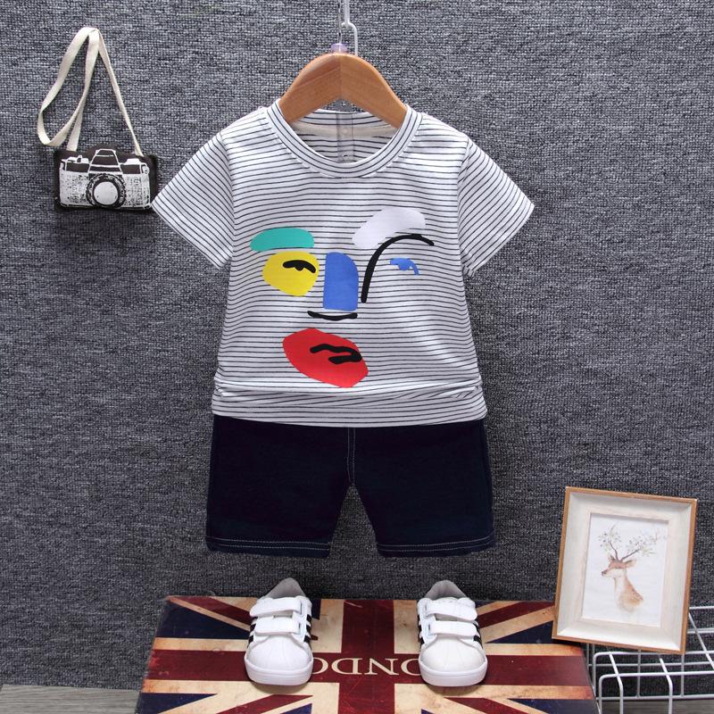 ชุดเซตเสื้อลายขวางสีขาว+กางเกงสียีนส์เข้ม แพ็ค 4 ชุด [size 6m-1y-2y-3y]